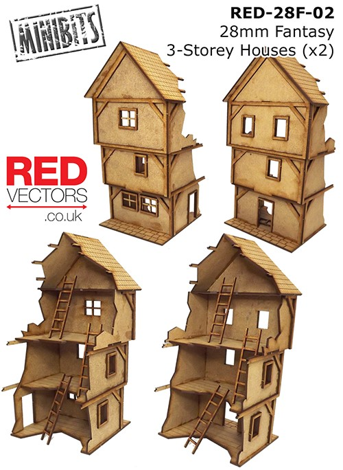 Fantasy 3-Storey House for Mordheim // Frostgrave RED-28F-03-28mm Wargames