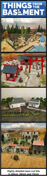 Highly detailed laser-cut kits for 28mm, 20mm and 15mm miniatures