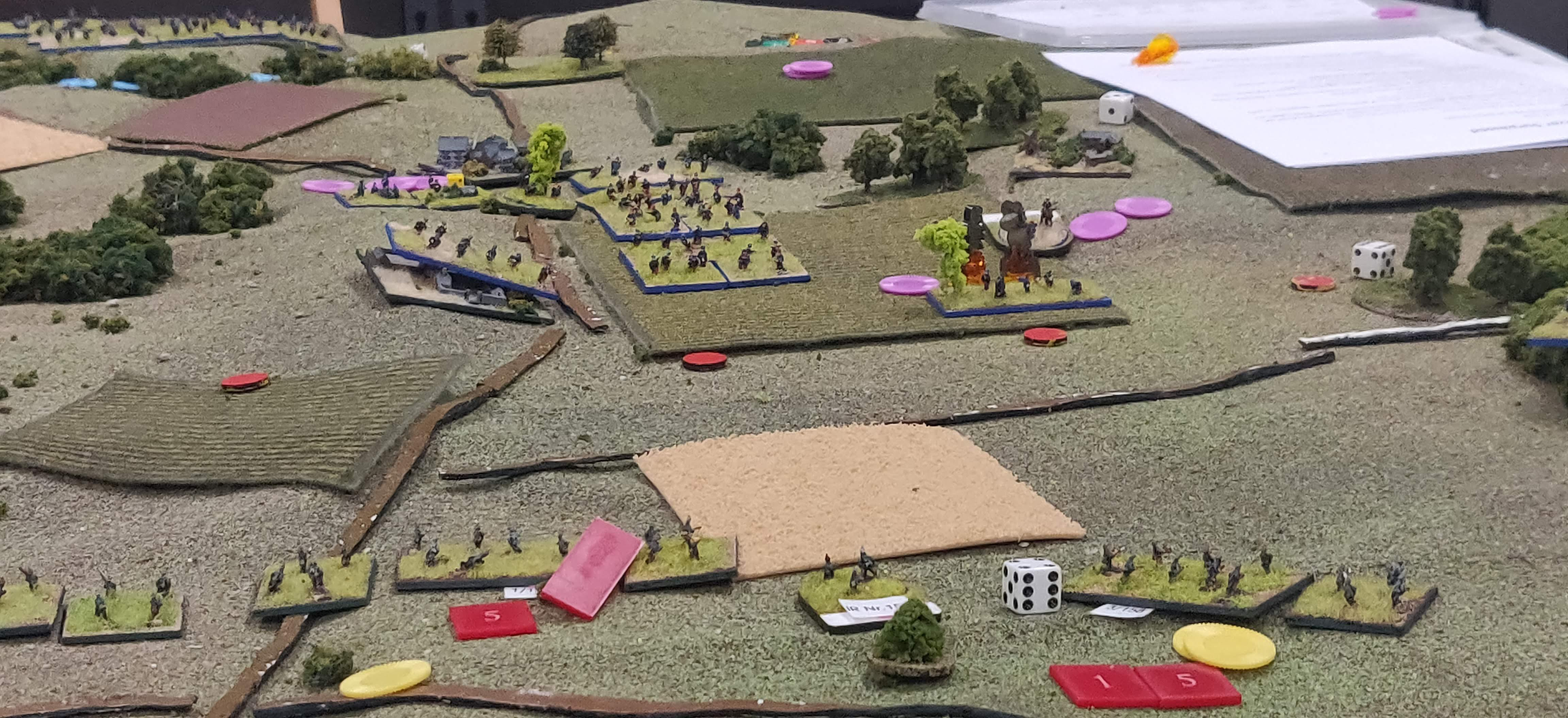 The Final French Reserve Regiment moves into line, at which point I (playing the Germans) threw in the towel, in order to withdraw my division in good order.