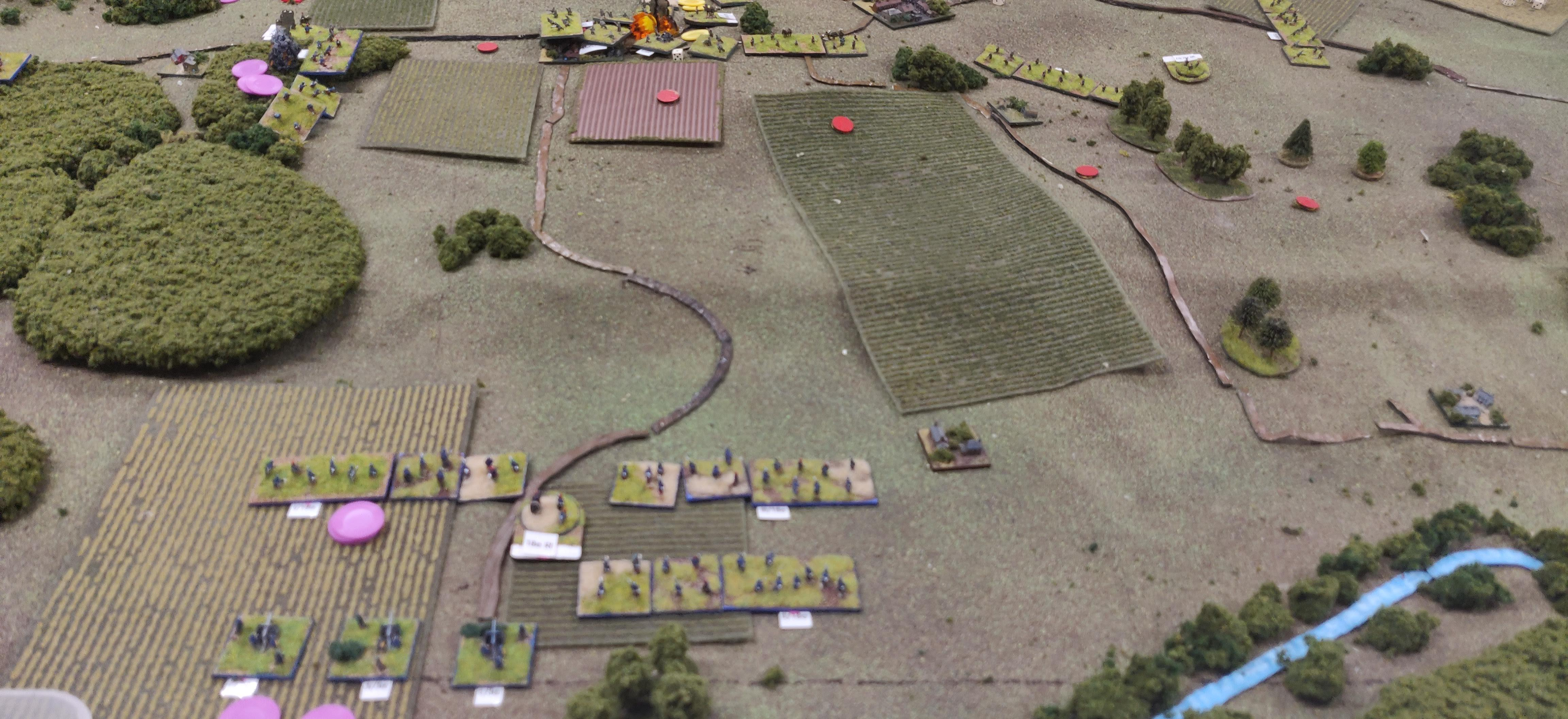 The 18e Regiment completes it's flank march, crossing the Petit Morin downstream of the main force and beginning their attack uphill.
