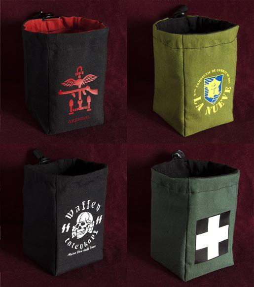 WARBAG Custom dice bag. 8 x 8 x 13 cm. You choose the logo and bag colours!