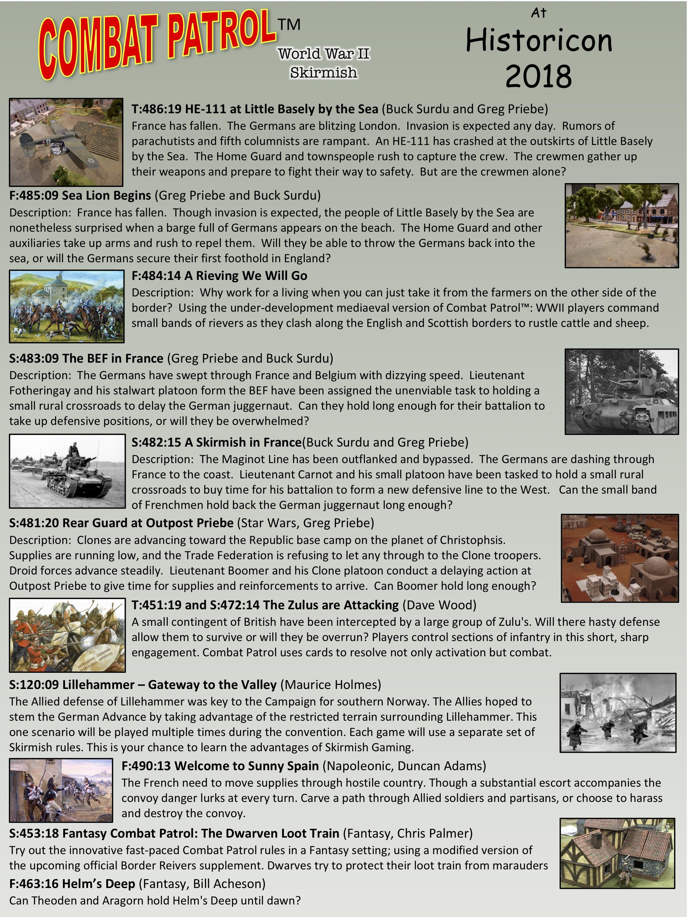 Flyer of Combat Patrol Games at Historicon